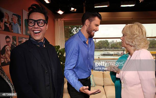 Camilla Duchess of Cornwall meets Gok Wan and Rylan Clark as she visits ITV Studios to mark their 60th Anniversary at London Television Centre on...