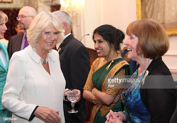 Camilla Duchess of Cornwall meets guests who are also celebrating their birthday during Prince Charles Prince of Wales' 64th birthday celebration at...
