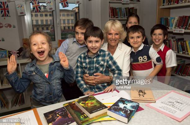 Camilla Duchess of Cornwall meets Italian children who are learning English at the British Institute in Florence on March 31 2017 in Florence Italy