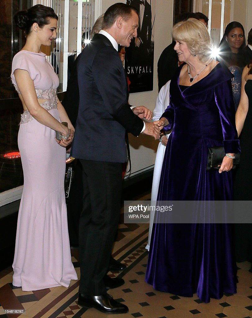 Camilla, Duchess of Cornwall (R) meets James Bond actor Daniel Craig (L) and his wife Rachel Weisz as they arrive for the Royal World Premiere of the James Bond film 'Skyfall' at the Royal Albert Hall on October 23, 2012 in London, England.