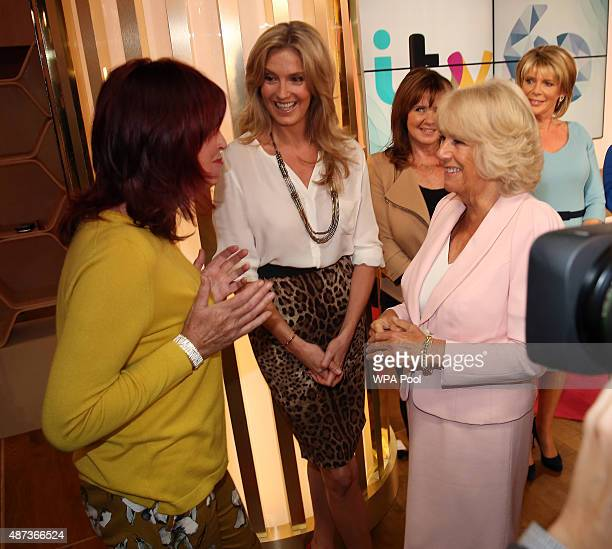 Camilla Duchess of Cornwall meets Janet StreetPorter and Penny Lancaster as she visits ITV Studios to mark their 60th Anniversary at London...