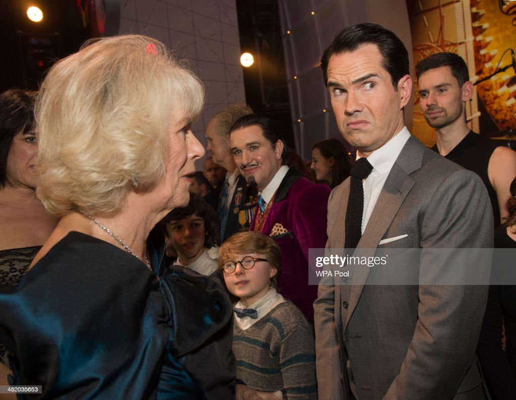 Camilla, Duchess of Cornwall meets Jimmy Carr at the Royal Variety Performance at London Palladium on November 25, 2013 in London, England.