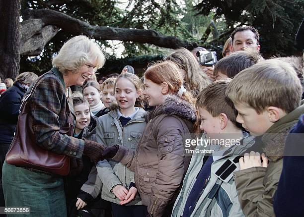 Camilla Duchess of Cornwall meets local children during a visit to St Alban's Cathedral during a visit to St Alban's Cathedral on January 26 2006 in...