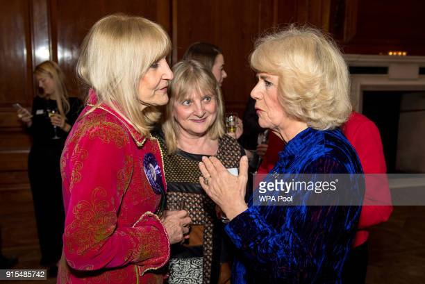 Camilla Duchess of Cornwall meets Lynn Faulds Wood during a reception for Women in Journalism at The Ned on February 7 2018 in London England