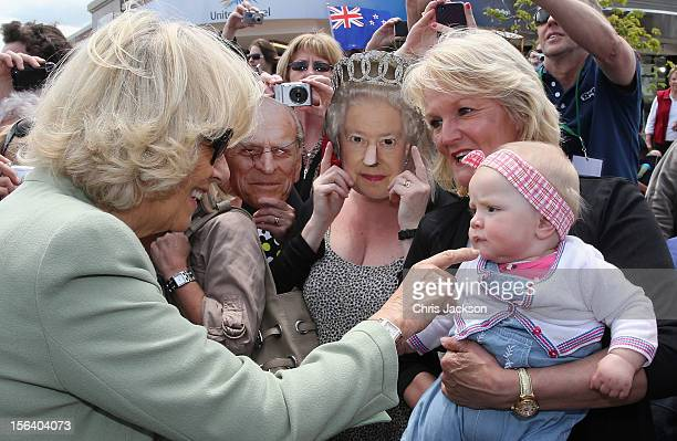 Camilla Duchess of Cornwall meets members of the public during a walkabout on November 14 2012 in Feilding New Zealand The Royal couple are in New...