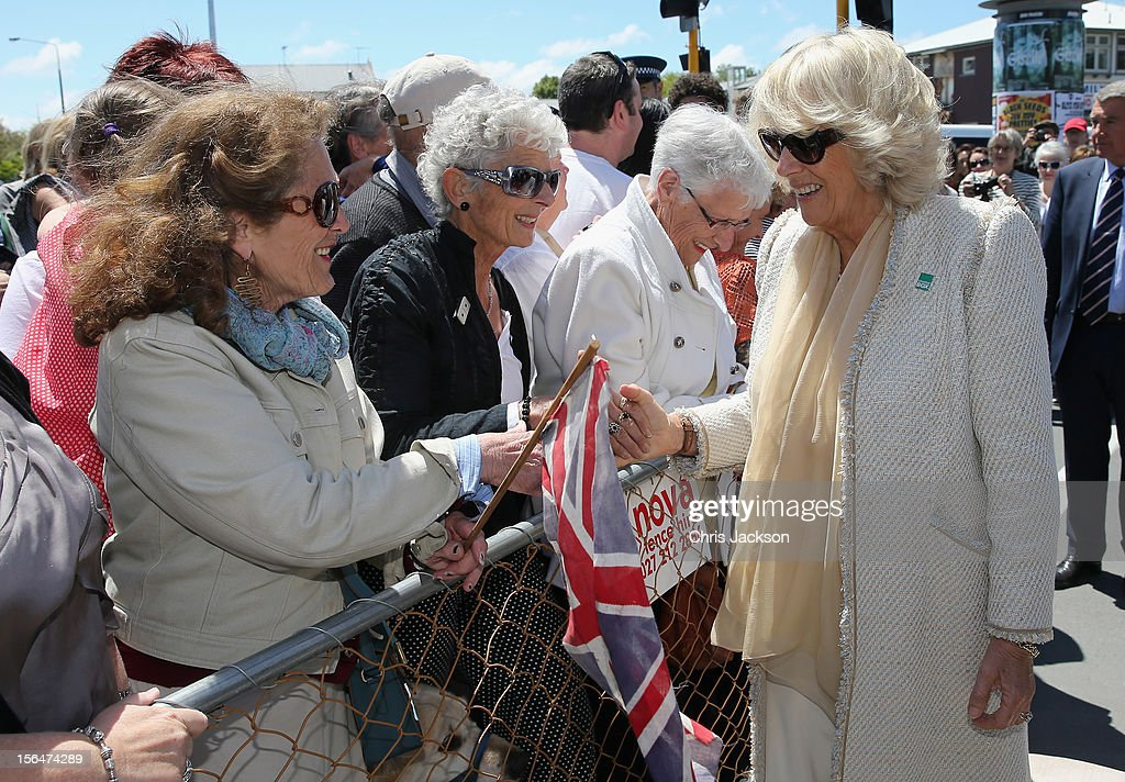 Camilla, Duchess of Cornwall meets members of the public during a visit to Christchurch on November 16, 2012 in Christchurch, New Zealand. The Dance-O-Mat was set up to give people the opportunity to keep dancing after many of the venues were destroyed by the earthquake of 2010. The Royal couple are in New Zealand on the last leg of a Diamond Jubilee that takes in Papua New Guinea, Australia and New Zealand.