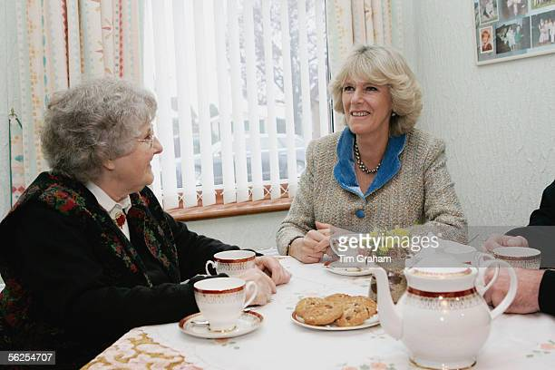 Camilla Duchess of Cornwall meets Mrs Evelyn Hawkins who was helped by the Bobby Van Trust after a burglary on November 22 2005 in Chippenham...