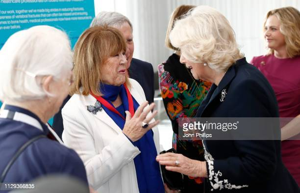 Camilla Duchess of Cornwall meets Nerys Hughes as they attend the official launch of The Royal Osteoporosis Society at the Science Museum on February...