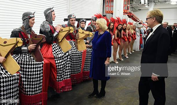 Camilla Duchess of Cornwall meets performers at The London International Horse Show at Olympia Exhibition Centre on December 17 2015 in London England