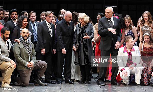 Camilla Duchess of Cornwall meets performers on stage during a visit to the Shakespeare Theatre Companyat Sidney Harman Hall on March 18 2015 in...
