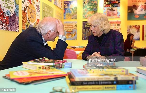 Camilla Duchess of Cornwall meets Peter Usborne during an official visit to The London Book Fair at Earls Court on April 9 2014 in London England