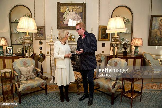 Camilla Duchess of Cornwall meets radio presenter Chris Evans following the launch of BBC Radios 2's '500 Words' a children's storywriting...