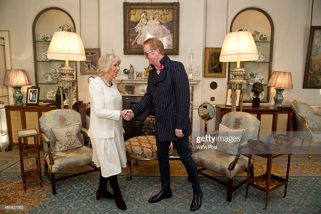 The Duchess Of Cornwall Meets Chris Evans Following Launch Of Children's Writing Competition : News Photo