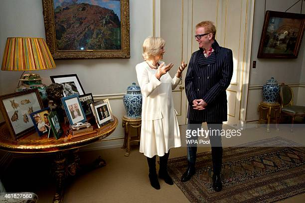 Camilla Duchess of Cornwall meets radio presenter Chris Evans following the launch of BBC Radios 2's '500 Words' a children's story writing...