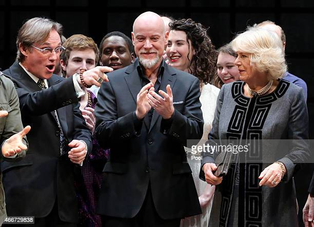 Camilla Duchess of Cornwall meets Richard Thomas and Australian actor Anthony Warlow during a visit to the Shakespeare Theatre Companyat Sidney...