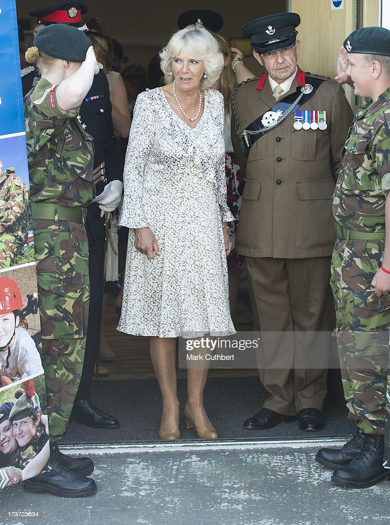 Camilla, Duchess of Cornwall, meets some Army Cadets during a walkabout on a visit to Lostwithiel on July 17, 2013 in Cornwall, England.