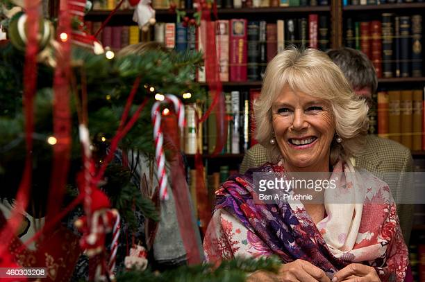 Camilla Duchess of Cornwall meets some of the patients of Helen Douglas House for a Christmas lunch at Clarence House on December 11 2014 in London...