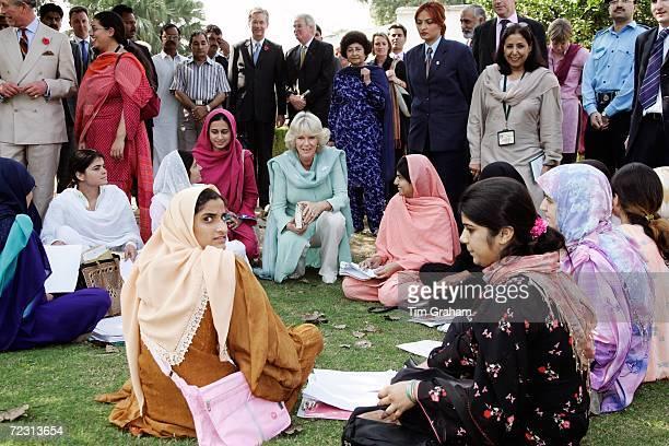 Camilla Duchess of Cornwall meets students at the all female Fatima Jinnah University on October 31 2006 in Rawalpindi Pakistan Prince Charles and...