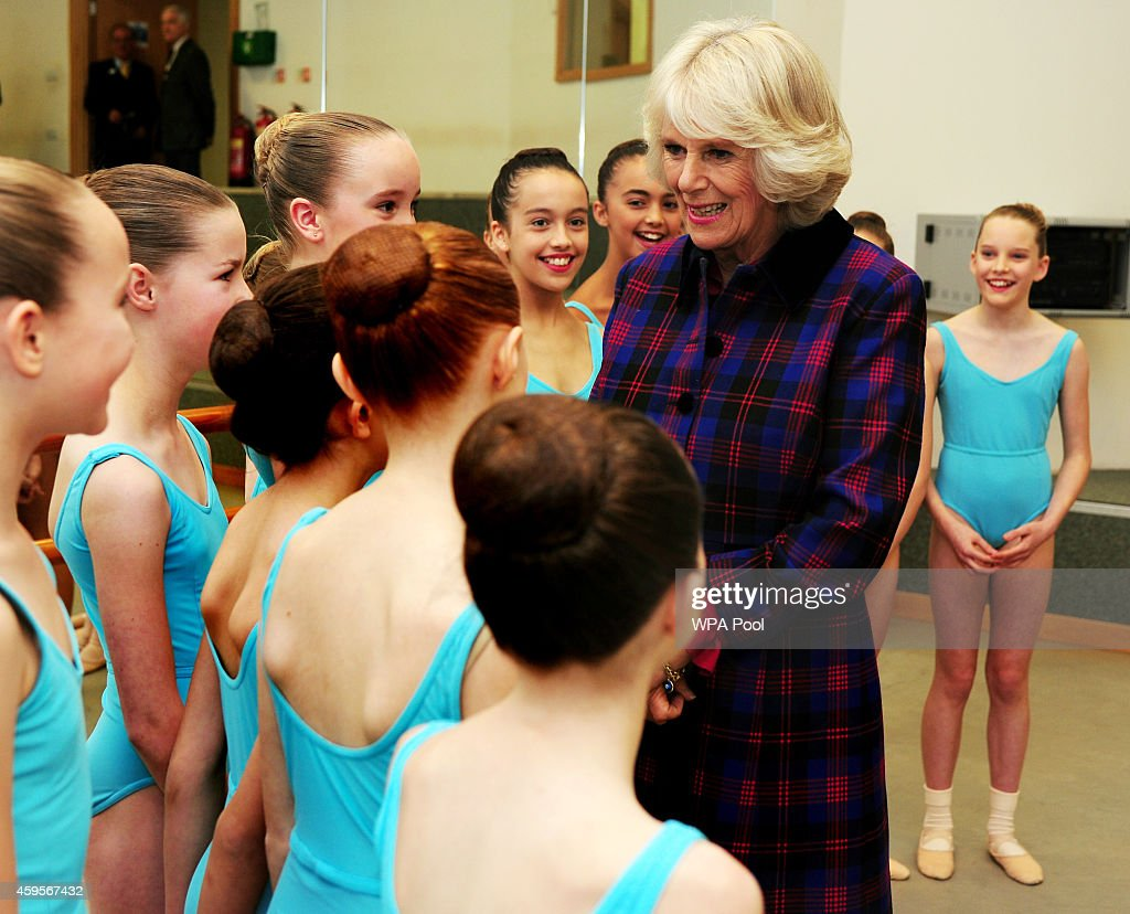 Camilla, Duchess of Cornwall meets students during a tour of Elmhurst School of Dance on November 25, 2014 in Birmingham, England.
