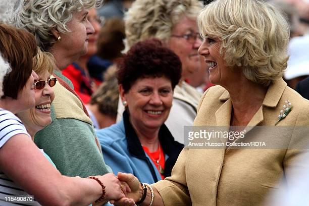Camilla Duchess of Cornwall meets the public as she tours Sandringham Flower Show on the Sandringham Estate on July 25 2007 in Sandringham England