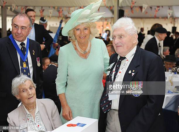 Camilla Duchess of Cornwall meets veterans during the 70th Anniversary commemorations of VJ Day at the Royal British Legion reception in the College...