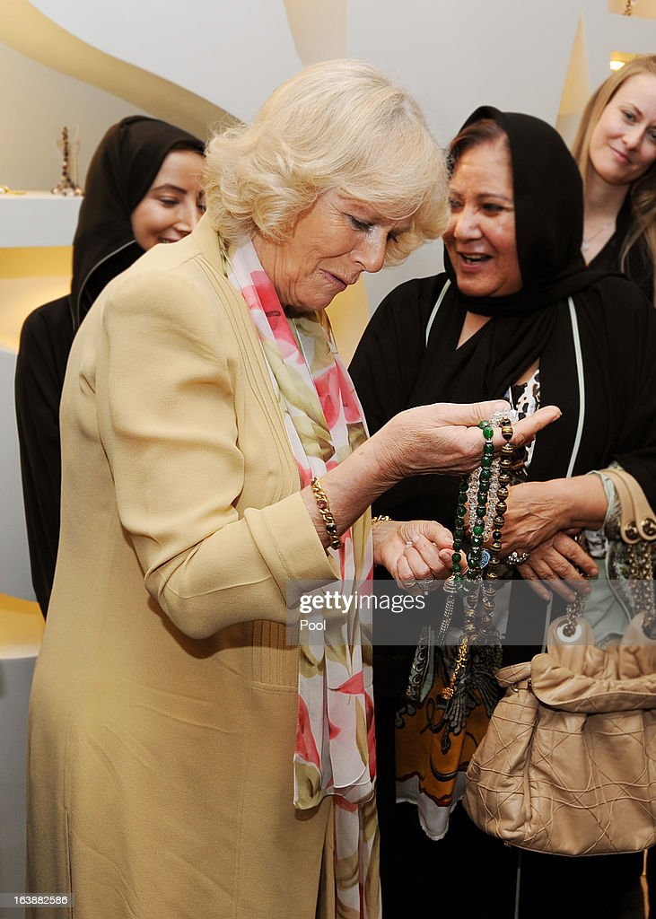 Camilla, Duchess of Cornwall meets women who are learning jewellery art skills at the Bab Rizq Jameel Nafisa Shams Female Academy for Arts and Crafts on March 17, 2013 ,Jeddah, Saudi Arabia.