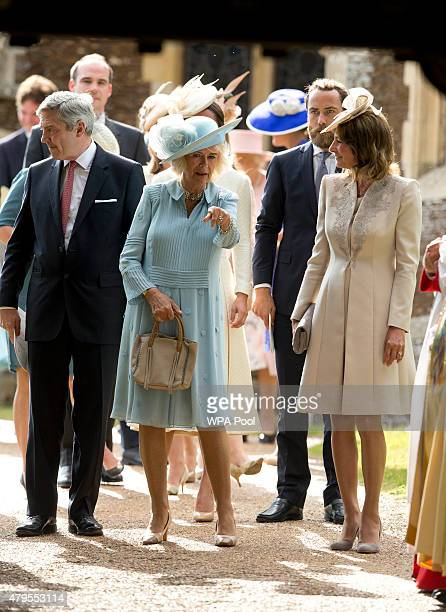 Camilla Duchess of Cornwall Michael Middleton James Middleton and Carole Middleton stand at the Church of St Mary Magdalene with on the Sandringham...