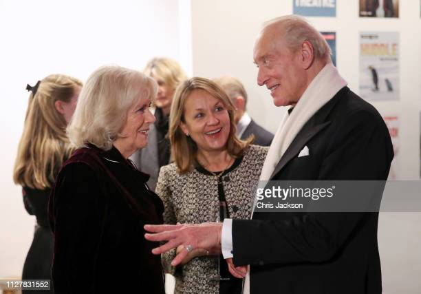 Camilla Duchess of Cornwall Michele Badenoch and Charles Dance attend a reception to launch the Glorious Grandparents initiative at Unicorn Theatre...