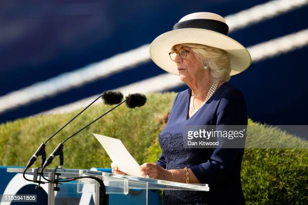 "Camilla, Duchess of Cornwall names Saga's new Cruise Ship ""Spirit Of Discovery"" at Port of Dover on July 5, 2019 in Dover, England."