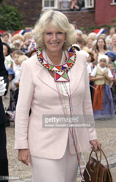 Camilla Duchess of Cornwall on a visit to the Suffolk village of Lavenham on July 22 2005