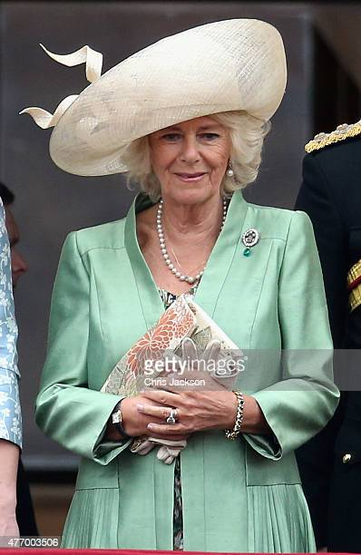 Camilla Duchess of Cornwall on the balcony of Buckingham Palace during the Trooping the Colour Ceremony on June 13 2015 in London England The...