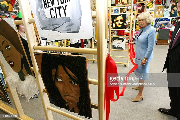 Camilla, Duchess of Cornwall opens the school's Summer Exhibition as she visits the Royal School in Hampstead, London on June 28, 2007. The Duchess,...