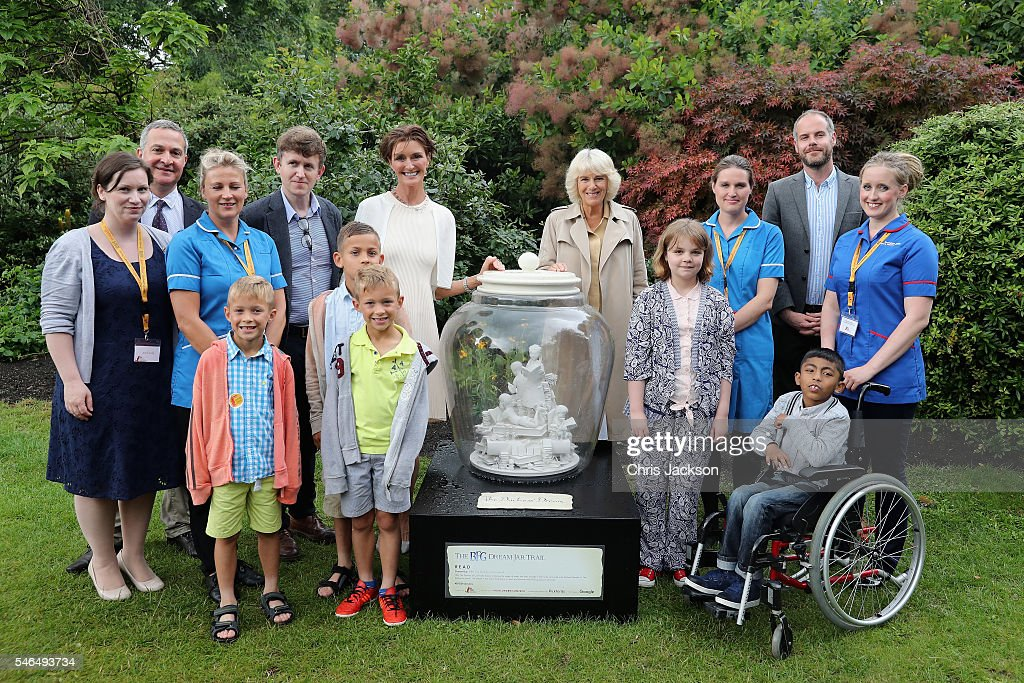 Camilla, Duchess of Cornwall, Patron of Roald Dahl 100, visits her dream jar that has been created as part of the BFG Dream Jar Trail and meets children from Roald Dahl's Marvellous Children's Charity in St James Park on July 12, 2016 in London, England. The event was attended by nurses and children from Roald Dahl's Marvellous Children's Charity. Her Royal Highness's Dream Jar has been designed by the renowned art director Michael Howells and shows The Duchess's dream of sharing the magic of books with the children of the world.