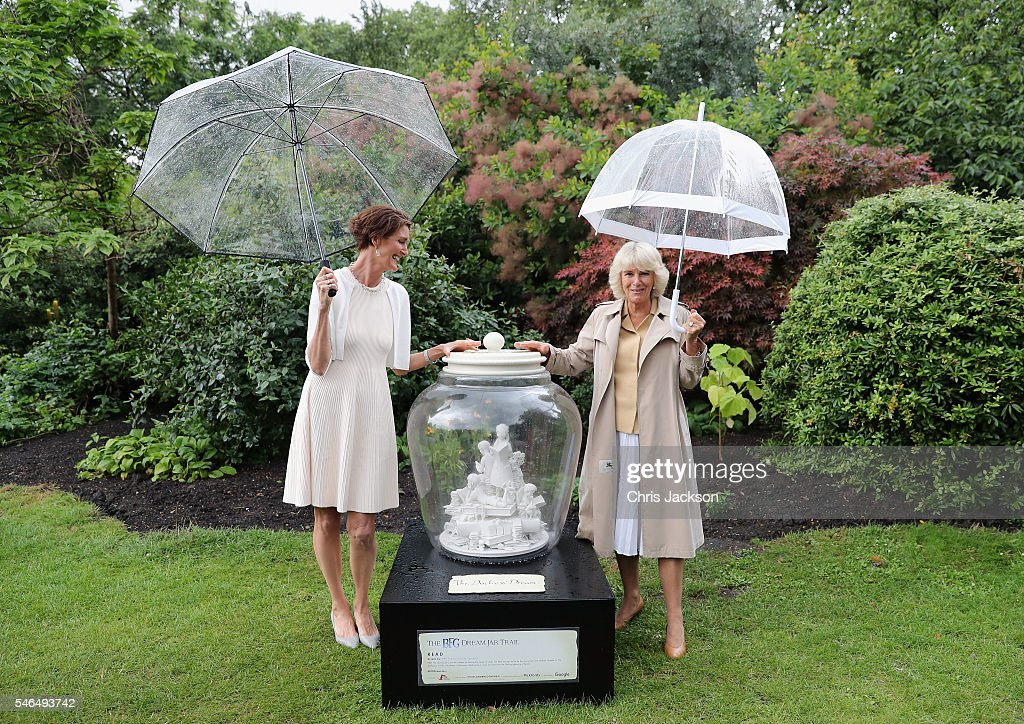 Camilla, Duchess of Cornwall, Patron of Roald Dahl 100 visits her dream jar that has been created as part of the BFG Dream Jar Trail with Roald Dahl's youngest daughter, Lucy, in St James Park on July 12, 2016 in London, England. The event was attended by nurses and children from Roald Dahl's Marvellous Children's Charity. Her Royal Highness's Dream Jar has been designed by the renowned art director Michael Howells and shows The Duchess's dream of sharing the magic of books with the children of the world.
