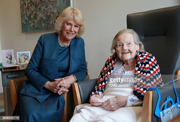 Camilla Duchess of Cornwall Patron of Royal Trinity Hospice meets a resident Helen as she visits Royal Trinity Hospice at Royal Trinity Hospice on...