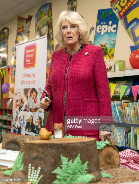 Camilla Duchess of Cornwall patron of the National Literary Trust cuts a cake during her visit to North Swindon Library on January 24 2019 in Swindon...