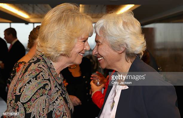 Camilla Duchess of Cornwall performs a traditional 'Hongi' Maori greeting as she meets Esther Kerr Jessop founder member of the Ngati Ranana London...