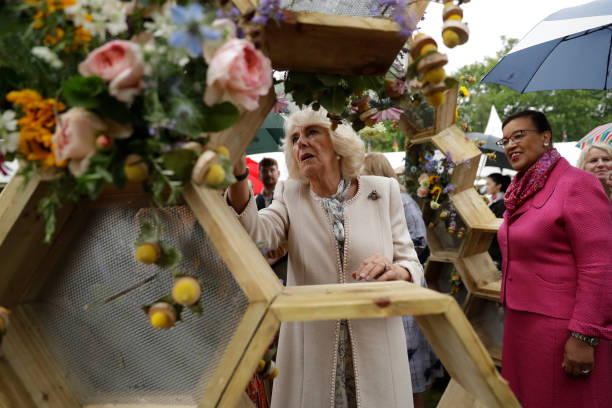 GBR: The Duchess Of Cornwall Attends The Bees For Development Garden Party