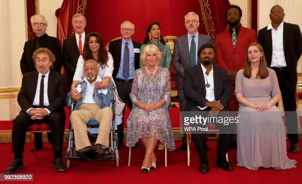 Camilla Duchess of Cornwall meets past winners and guests as she attends a reception celebrating the 50th anniversary of the Man Booker Prize at...