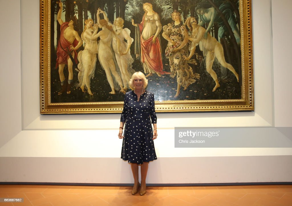 Camilla, Duchess Of Cornwall poses in front of Primavera, also known as Allegory of Spring, a painting by Italian Renaissance artist Sandro Botticelli during a visit to the Vasari Corridor on day three of her tour of Italy on April 2, 2017 in Florence, Italy. Designed by Giorgio Vasari and built by Grand Duke Cosimo I de'Medici in 1565, the Vasari Corridor connects the gallery of statues and paintings in the Uffizi Gallery to Palazzo Pitti and was built to allow the Grand Dukes of Florence to move safely from their private residence at Palazzo Pitti to the government's headquarters at Palazzo Vecchio.