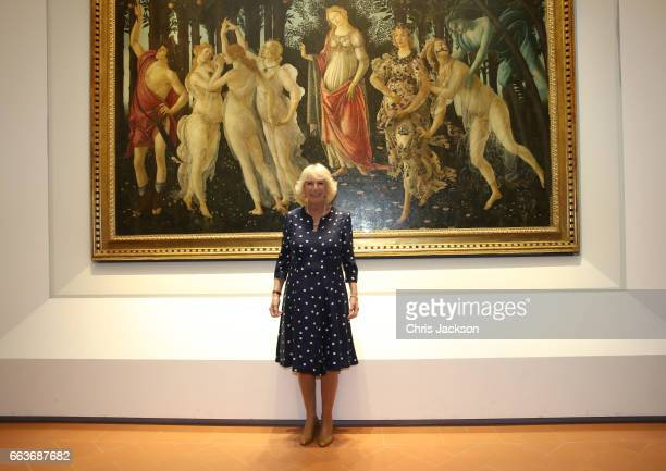 Camilla Duchess Of Cornwall poses in front of Primavera also known as Allegory of Spring a painting by Italian Renaissance artist Sandro Botticelli...