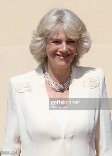 Camilla Duchess of Cornwall poses outside the Palacio Del Pardo on day one of a three day visit to Spain on March 30 2011 in Madrid Spain Camilla...