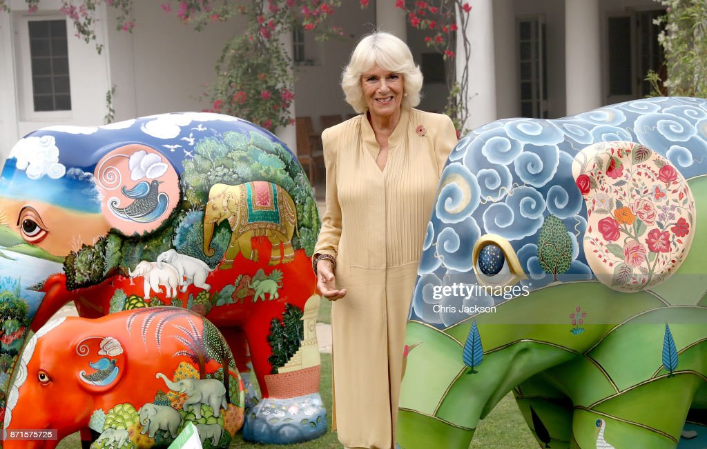 Camilla, Duchess of Cornwall poses with 101 painted sculptures, named after the 101 elephant corridors that have been mapped across the country, at an 'Elephant Parade' during the Elephant Family charity event held at the British High Commissioner's Residence on November 8, 2017 in New Delhi, India. The Prince of Wales and Duchess of Cornwall are on a tour of Singapore, Malaysia, Brunei and India.