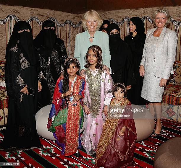Camilla Duchess of Cornwall poses with women from Vodafone's Al Johara Project at the Qatar Science and Technology Park on the fourth day of a tour...