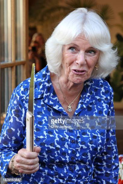 """Camilla, Duchess of Cornwall prepares to cut a cake to mark the """"ten plus one"""" anniversary of the Prince's Countryside Fund, recreating a celebration..."""