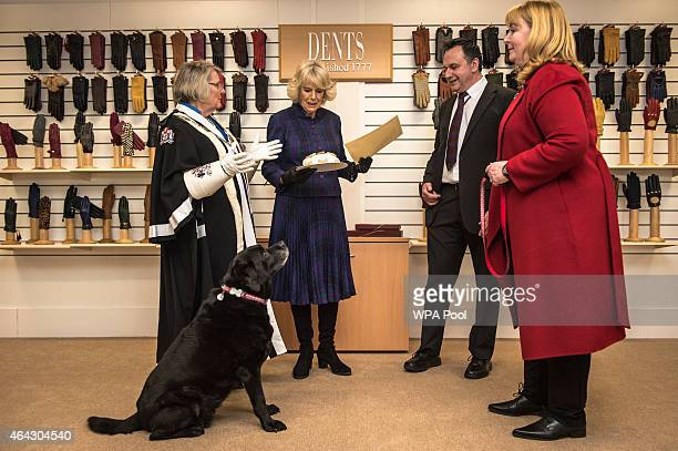 Camilla Duchess of Cornwall presents a long service certificate and special doggy cake to Ruby the rescue dog inside Dents Fine Accessories factory...