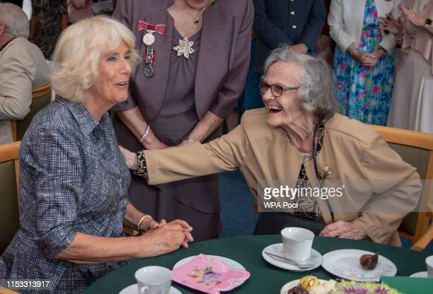 Camilla Duchess of Cornwall President Royal Voluntary Service visits the Dolau Bran Lunch Club to celebrate the club's 40th anniversary and meet...
