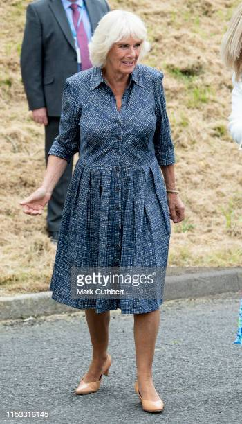 Camilla Duchess of Cornwall President Royal Voluntary Service visits the Dolau Bran Lunch Club on July 2 2019 in Llandovery Wales