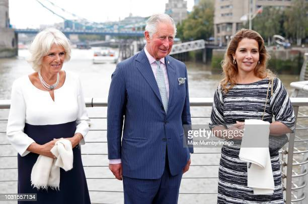 Camilla Duchess of Cornwall Prince Charles Prince of Wales and Princess Haya Bint Al Hussein visit the newly refurbished 'Maiden' Yacht at HMS...