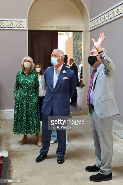Camilla, Duchess of Cornwall, Prince Charles, Prince of Wales and Lord Andrew Lloyd Webber during a visit to Theatre Royal on June 23, 2021 in...